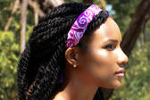 Purple Paisley Adjustable Headband